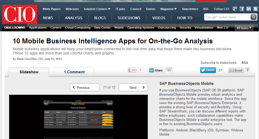 SAP Mobile BI Top Downloaded Mobile Application for Business SAP BusinessObjects Explorer SAP