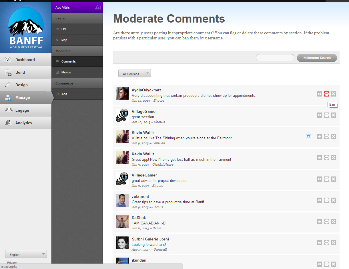 CMS MODERATE Every user comment or user uploaded photo is viewable in a