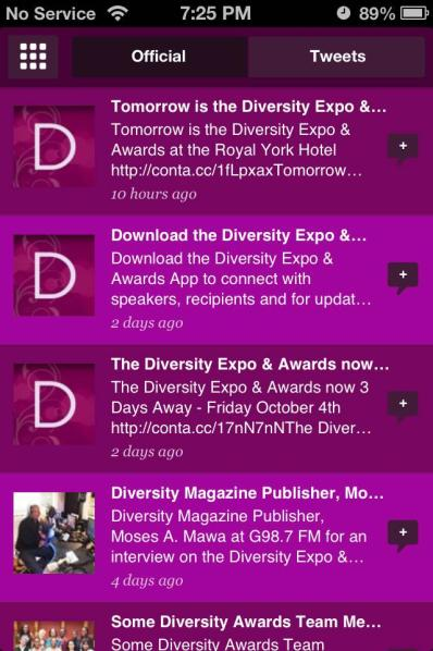 MOBILE APP DEVELOPMENT Diversity Expo & Awards Mobile App The