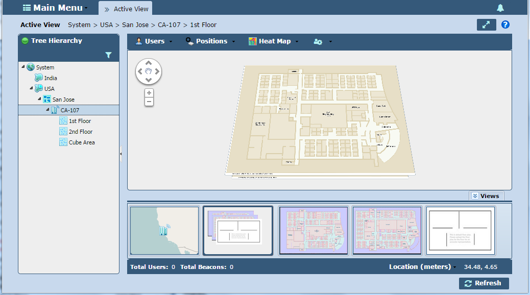 2-28 MPact Location & Analytics Server Reference Guide When an individual floor plan is selected, its corresponding location displays in the tree on the left-hand side of the screen.
