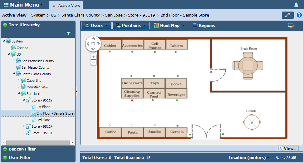 Locationing 2-29 5. Expand the Tree Hierarchy and select an existing floor deployment, or select a floor from the Views tray.