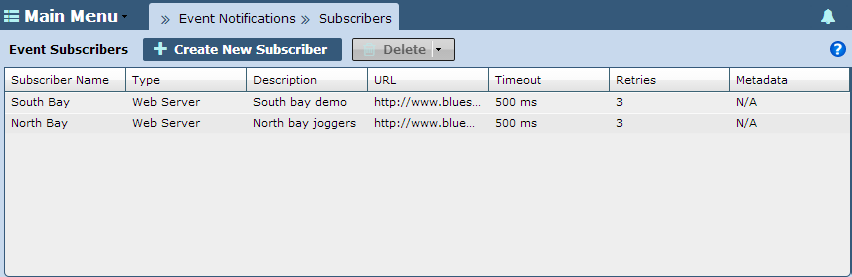 Configuration 3-13 3.4 Subscribers Use Subscribers to segregate event notifications to the users or administrators most impacted. Subscriber are a subset of Event Notifications.
