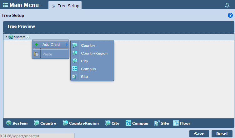4-6 MPact Location & Analytics Server Reference Guide 4.3 Tree Setup Use the Tree Setup to administrate how system data is retrieved and hierarchically displayed for MPact supported deployments.
