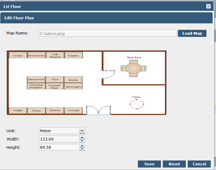 4-10 MPact Location & Analytics Server Reference Guide Figure 4-10 shows an example of a floor plan upload.