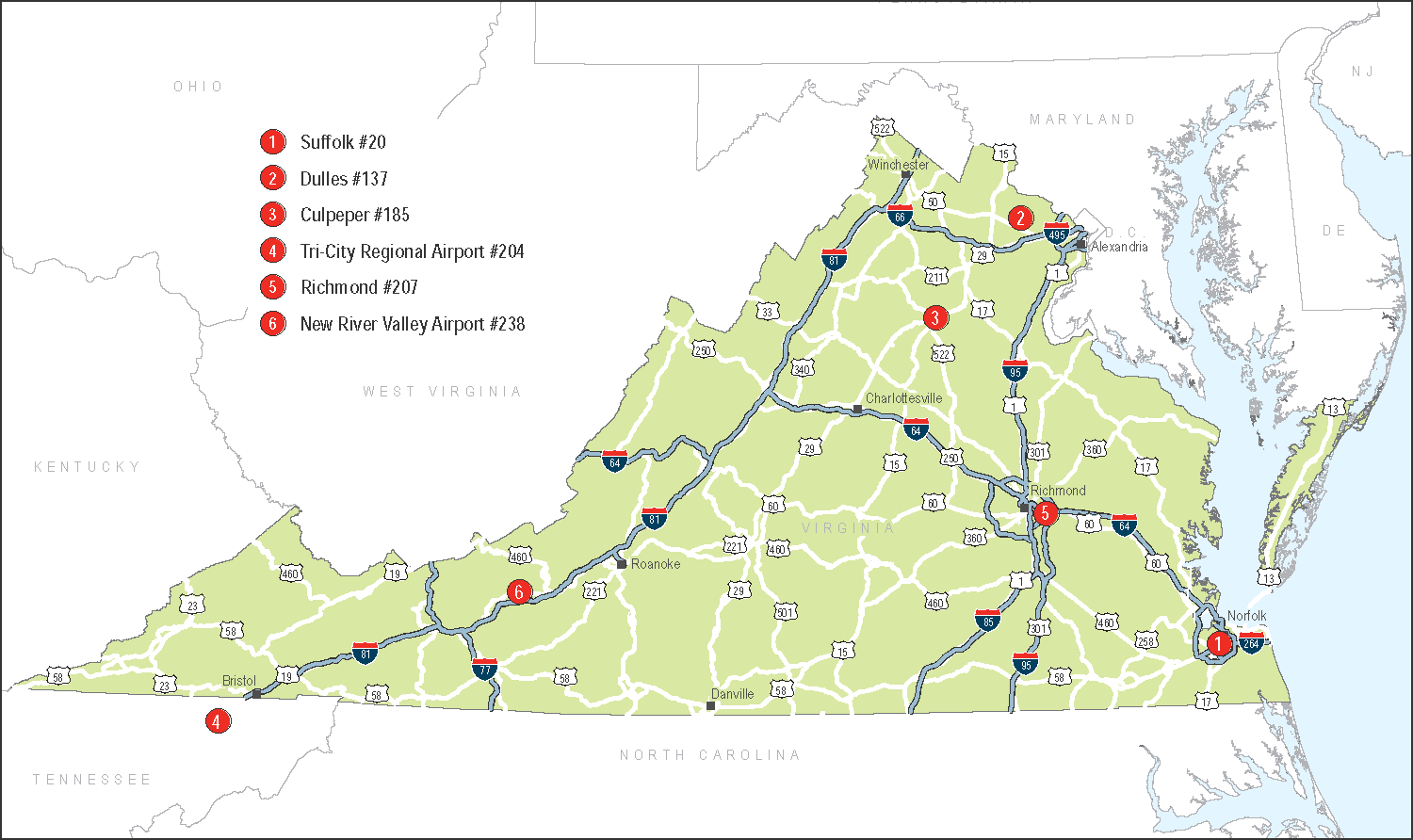 Infrastructure 5. Richmond FTZ #207. Central Virginia s zone is located at Richmond International Airport.