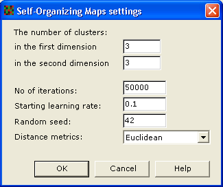 9 Calculation and Results - Pattern Analysis 3 The Settings area shows the default settings for the currently selected algorithm. These settings can normally be used.