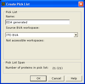 11 Interpretation 11.3 Create pick list and import MS data 11.3.1 Create pick lists Pick lists can be generated for a set of proteins.