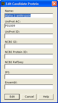11 Interpretation d. To edit a candidate protein, select the candidate protein in the Select Candidate Protein dialog and click Edit. The Edit Candidate Protein dialog is displayed.