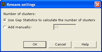 E Statistics and algorithms - Pattern Analysis Parameter Number of Clusters Description No parameter is necessary for a K-means clustering in EDA, since EDA uses Gap statistics to calculate an