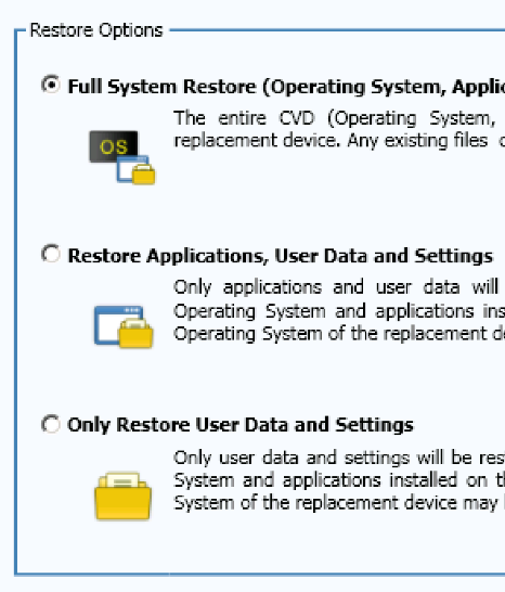 User Machine Replacement Option Use for endpoints with a fresh operating system that requires updates and no user data.