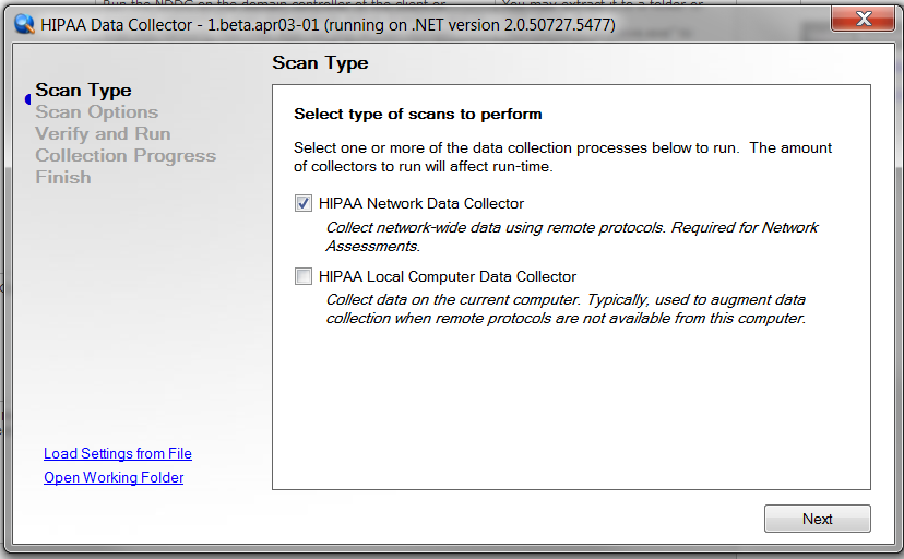 Run the HIPAA Data Collector Network Scan The HIPAA Data Collector is a self-extracting zip file that executes an.