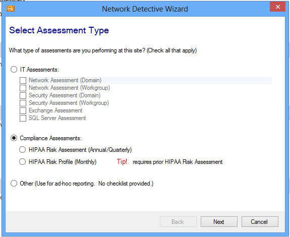 Starting a HIPAA Assessment From the Home screen, select the site you wish to start. Click on the Start button.