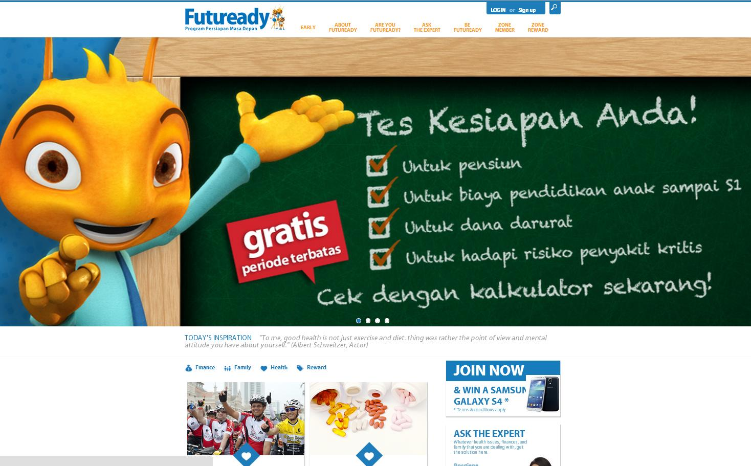 FUTUREADY FIRST OF ITS KIND Health, finance & family loyalty program Engagement tools: Finance Calculators, Health Assessment Tools Rich Content produced by experts in health, finance and family