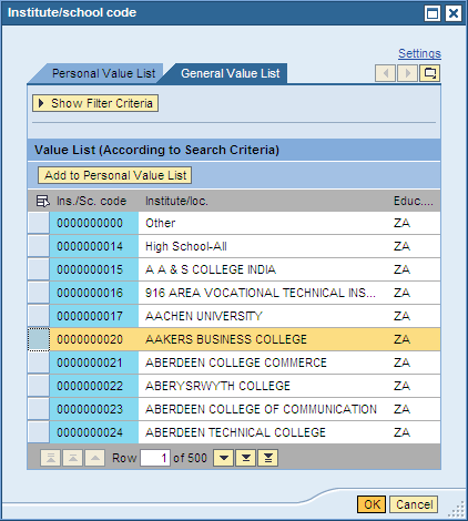 5. Once the list of schools appears, select the correct one by clicking the button next to it to highlight the row.