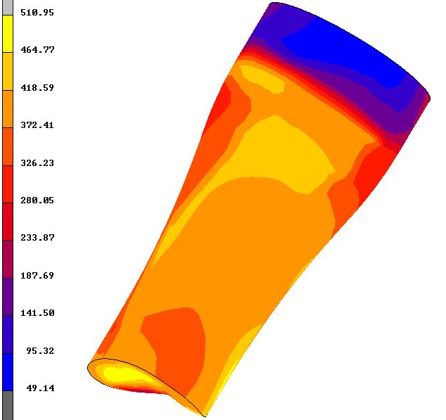 Model 3. Extrusion of a Cylindrical Billet 72 Figure 5.38: Equivalent von Mises stress distribution of the multi-grain material with Hill s model. 5.4.