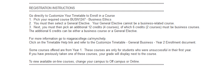 P0470 GENERAL BUSINESS TERM 3 & 4 NICOLE (Niagara College Online Enrollment) INSTRUCTIONS Navigation to Customize Your Timetable: Log into mync.niagaracollege.