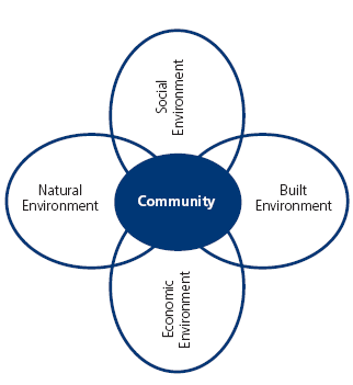and Lifeline Utilities; the Natural Environment is comprised of the elements of: Biodiversity & Ecosystems, Amenity Values, Waste & Pollution and Natural Resources; and the Economic Environment