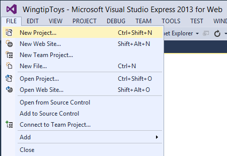 Create the Project This tutorial series will teach you the basics of building an ASP.NET Web Forms application ASP.NET 4.5 and Microsoft Visual Studio Express 2013 for Web.