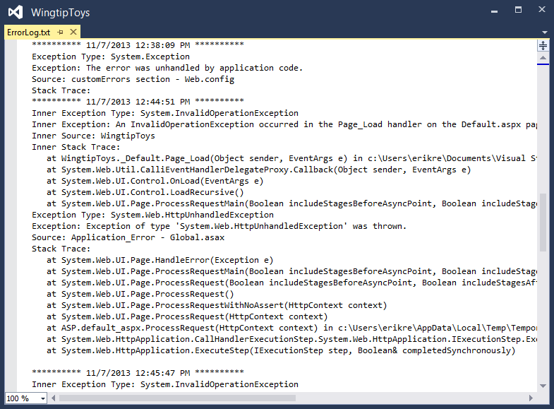 1. In Solution Explorer, find and open the ErrorLog.txt file in the App_Data folder.