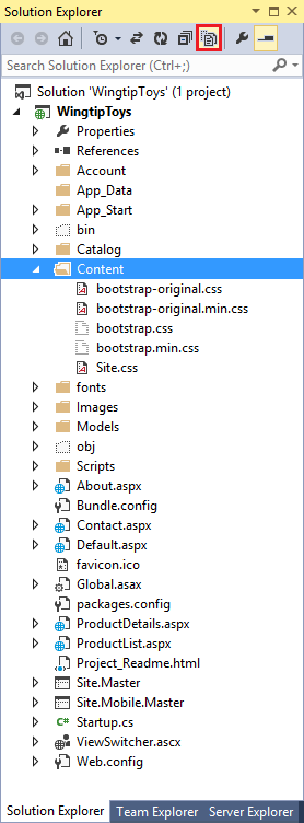 8. In Visual Studio at the top of Solution Explorer, select the Show All Files option to display the new files