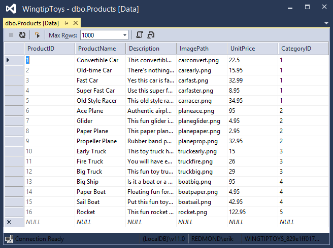 5. Right-click the Products table and select Show Table Data. The Products table is displayed. 6.