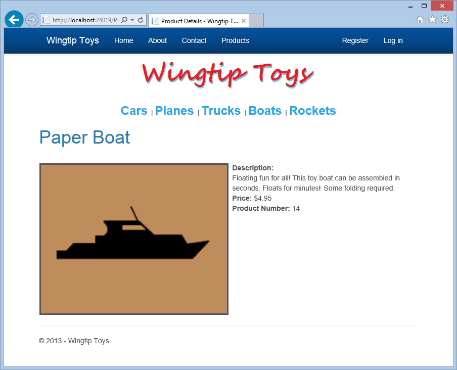 3. Select the Paper Boat product from the product list. The ProductDetails.aspx page is displayed. 4. Close the browser.