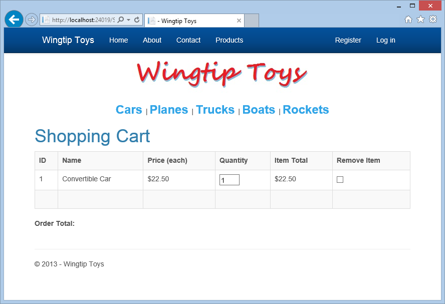 3. Click the Add to Cart link next to the first product listed (the convertible car). The ShoppingCart.aspx page is displayed, showing the selection in your shopping cart. 4.