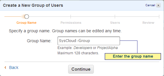 38 Figure 36: Create a New Group of Users Step 2: Enter the Group name.