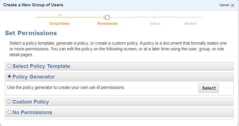 39 Step 3: Set Permissions To set permissions for the group, Click on Policy Generator and then Click on the Select button (See Screenshot).