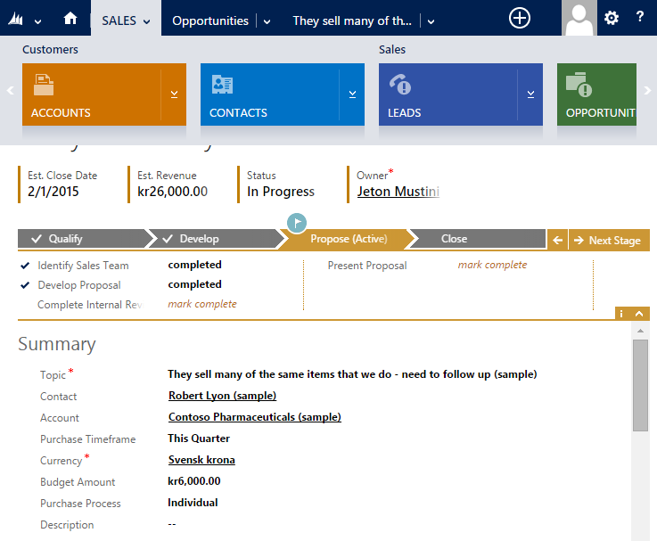 3. Introduction to Microsoft Dynamics CRM 13 Figure 3.1: Shows the interface of Dynamics CRM 2013 software. The horizontal panel shows the different entities in the Sales module.