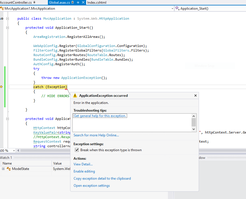FIGURE 4-11 A thrown first chance exception The ability to catch first chance exceptions in Visual Studio is a significant advantage.