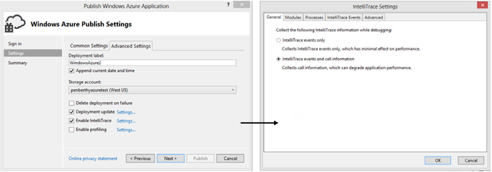 FIGURE 4-16 Configuring the IntelliTrace settings for Windows Azure You have two primary choices: events only or events and call information.