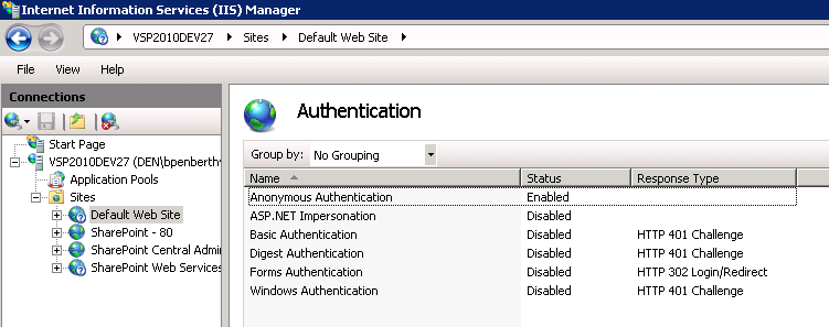 FIGURE 5-1 Installing authentication providers As shown in Figure 5-1, you must install challenge-based authentication services.