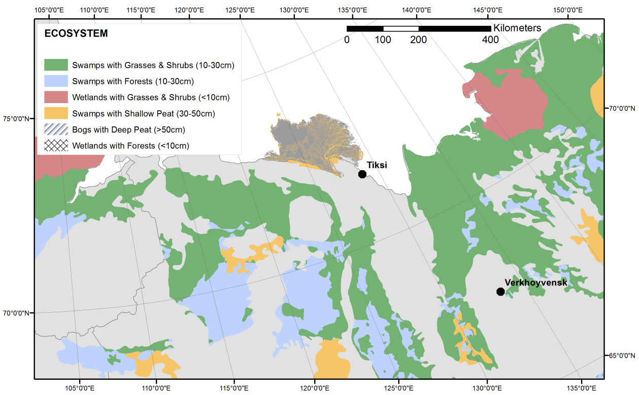 Synthesis and conclusions Figure 59: The distribution of wetland ecosystems in Northeast-Siberia. The two dominating types of this region are swamps with grasses and shrubs and swamps with forests.