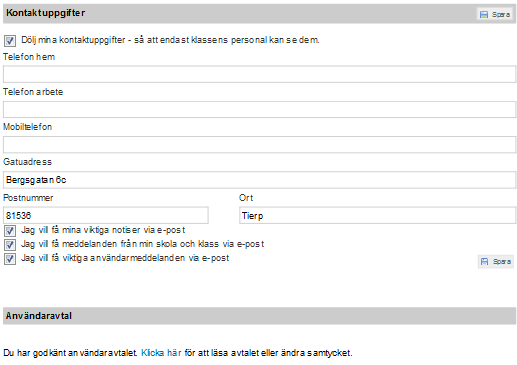 Figure 4.5: The screenshot from Unikum e-service that illustrate The Inställningar page content.
