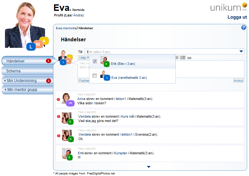 Picture 8.4a: Teacher (Eva) writes a new event. Eva can address the event to one contact or to a group of contacts.
