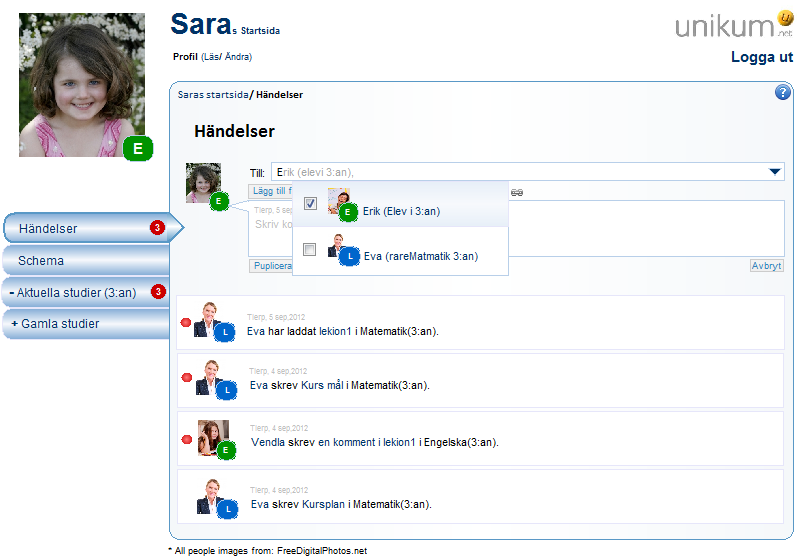 Picture 8.15a: The Pupil (Sara) writes an event. Sara can address the event to one contact or to a group of contacts.