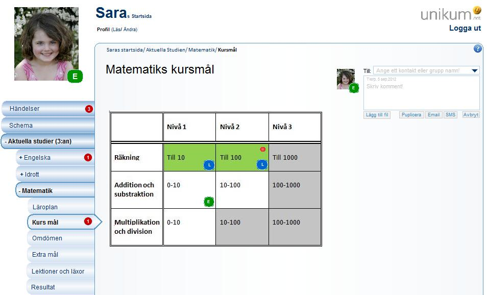 Picture 8.20: Mathematic course gaols as viewed by the pupil (Sara) Sara can view the general goals for Mathematic course.