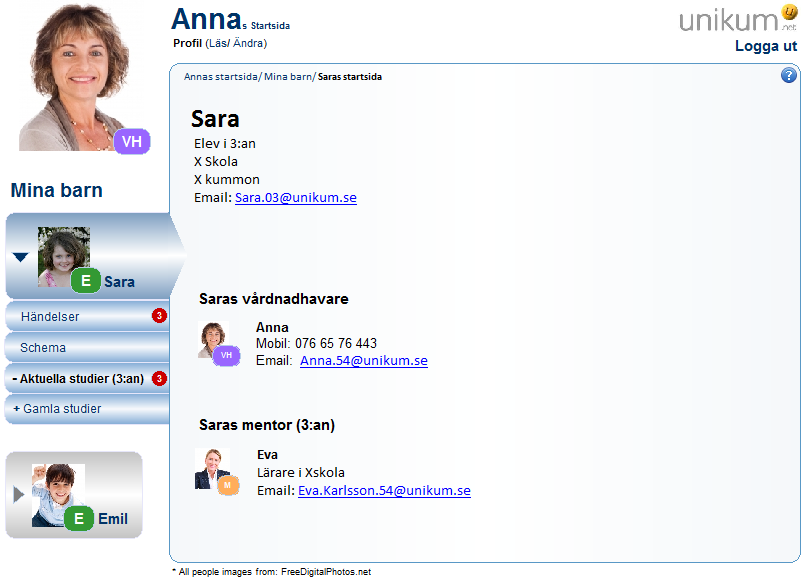 Picture 8.24: The caregiver (Anna) views her daughter (Sara) start page. Anna can view and edit her daughter (Sara) profile.