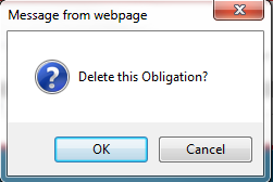 Press OK to continue deleting this obligation.