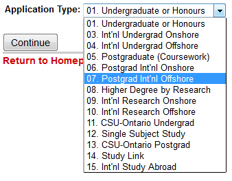 b) NOT an Australian Citizen or Permanent Resident? Select 07. Postgrad Int nl Offshore.