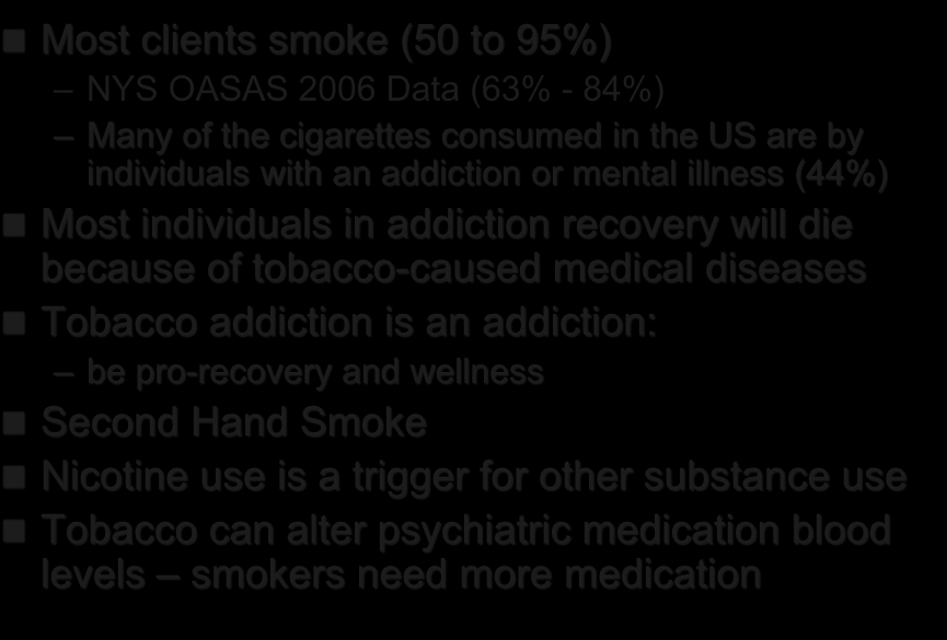 Why Address Tobacco Dependence in Addiction Treatment Settings?
