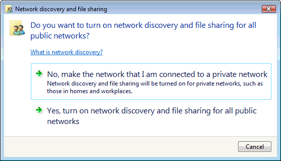 7. Click on Turn on network discovery and file sharing 8.