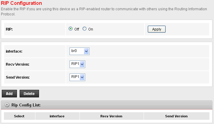 RIP RIP is an Internet protocol you can set up to share routing table information with other routing devices on your LAN, at your ISP s location, or on remote networks connected to your network via