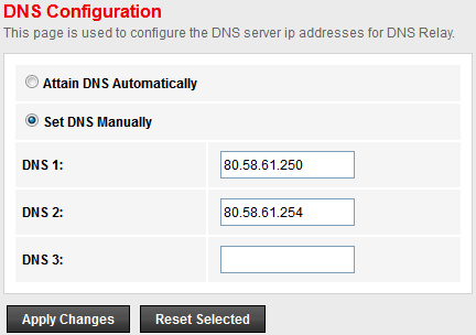 DHCP Server Configuration - Set DNS Manually 1. From the head Services menu, click on DNS -> DNS Server. 2. From check ratio, click on Set DNS Manually. 3. Enter the IP Address of DNS. 4.