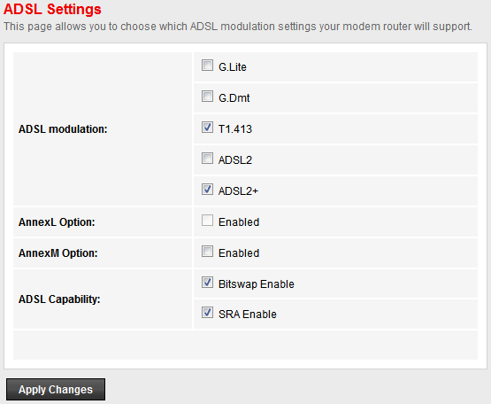 Wireless ADSL Router RTA01N User s Manual ADSL Settings The ADSL setting page allows you to select any combination
