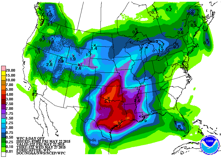 By Saturday, another event is expected to unfold, with heavy rainfall and severe weather possible from the Red River down through the Rio Grande and across much of central Texas.