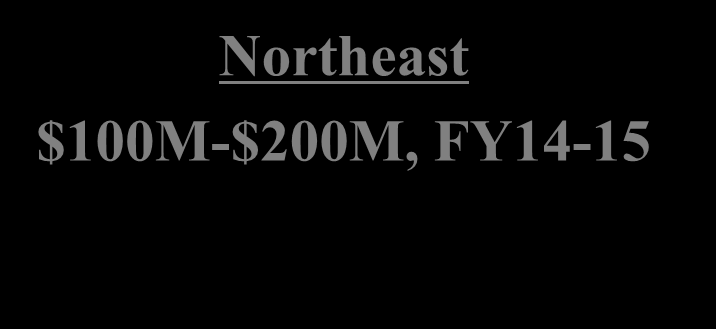 MILCON & Special Projects Northeast $100M-$200M, FY14-15 NE- Pennsylvania, Earle, New London, Newport, Maine Program (MCON) - 4 Projects $50M-$100M Specials, Maintenance, Energy (FY14 data)