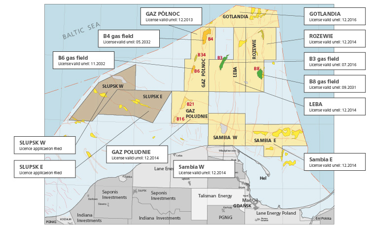 LOTOS Petrobaltic holds seven licences for exploration and appraisal of mineral deposits in the Polish economic zone of the Baltic Sea.