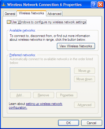 Section 3 - Configuration In the Wireless Network Connection Properties window, uncheck Use Windows to configure my wireless